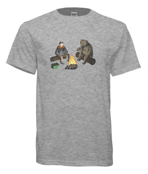 Man and Bear Having a Beer Together cool T-Shirt